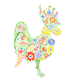 floral ornate rooster vector image