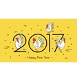 for the new year 2017 with a rooster vector image vector image