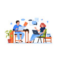 freelancers man and woman working together at home vector image vector image