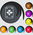game cards icon Symbols on eight colored buttons vector image vector image