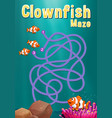 game template with clownfish and coral reef vector image vector image