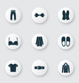 garment icons set with slipper bra coat and vector image vector image