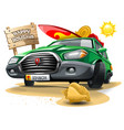 green cartoon car with a surf equipment on roof vector image vector image