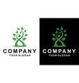 green leaf tree people logo vector image vector image