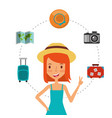 happy girl tourist waving hand and suitcases vector image vector image