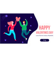 happy romantic couple jumping people in love vector image vector image