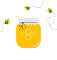 honey jar pot icon honeycomb logo beehive element vector image