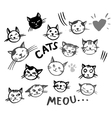 icons of cat smiling faces vector image