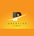 ip i p letter modern logo design with yellow vector image vector image