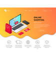 landing page shopping isometric laptop vector image vector image