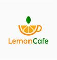 lemon cafe logo cup tea with lemon on white vector image