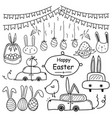 line hand drawn doodle happy easter day set vector image