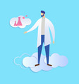 man doctor scientist isolated on blue background vector image
