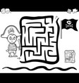 maze with pirate boy coloring page vector image vector image