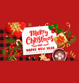 merry christmas wishing cardnew year greeting vector image