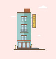 modern mid-rise hotel building side view colorful vector image vector image