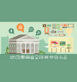 museum icons set with building flat vector image vector image
