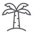 palm tree line icon nature and plant tropical vector image vector image