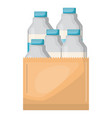 paper bag with milk bottles vector image vector image
