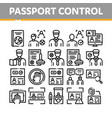 passport control check collection icons set vector image