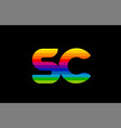 rainbow color colored colorful alphabet letter sc vector image vector image