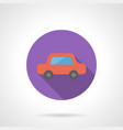 red automobile flat round icon vector image