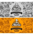 restaurant cafe menu template design hand drawn vector image vector image