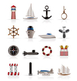 sailing and sea icons vector image vector image