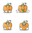 set pumpkin character cartoon style collection vector image vector image