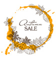 Sketch Patterned Autumn Leaves In A Circle Shape vector image