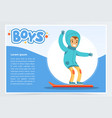 smiling boy snowboarding boys banner for vector image vector image