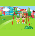 two boys playing on swings in the park vector image vector image