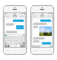 two chat screens templates on white smartphones vector image vector image