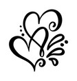 two lover calligraphic hearts handmade vector image
