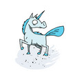 unicorn cartoon hand drawn image vector image