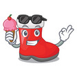 with ice cream christmas santa boot isolated on vector image