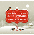 Christmas signboard and winter landscape vector image