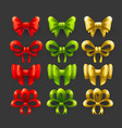 golden red and green bow icons set vector image