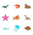 marine fauna icons set cartoon style vector image