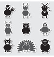 farm animals simple stickers set eps10 vector image