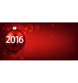 2016 New year red background with bauble vector image
