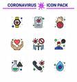 9 filled line flat color coronavirus covid19 icon vector image vector image