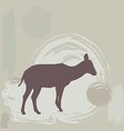 Antelope Fawn silhouette on grunge background vector image vector image