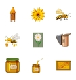 Apiary icons set cartoon style vector image vector image