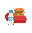 appetizing sandwich on closed red container and vector image