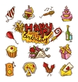Birthday sketch color icon set vector image vector image