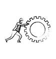 businessman pushing a big gear cogwheel silhouette vector image