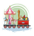carrousel and kids toys on train vector image
