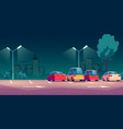 cars on city street parking at night vector image