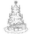 cartoon of christmas xmas tree with gifts vector image vector image